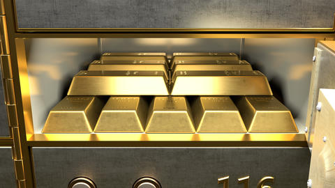 Fine gold bars inside safety deposit box Animation
