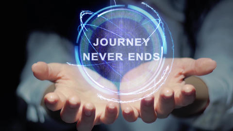 Hands show round hologram Journey never ends Live Action