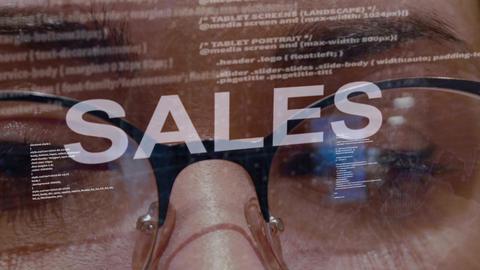 Sales text on female software developer Live Action