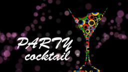Party invitation animation background. Martini cocktail glass Animation