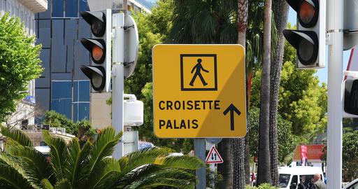 Sign Of Man Walking On The Croisette For The Palais Des Festivals Et Des Congres Footage