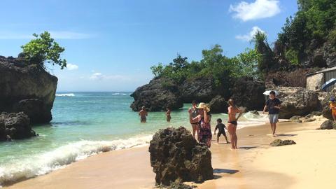 BALI, INDONESIA, 20 MAR 2019 - View on Padang Padang beach, Bali, Indonesia, 4k Live Action