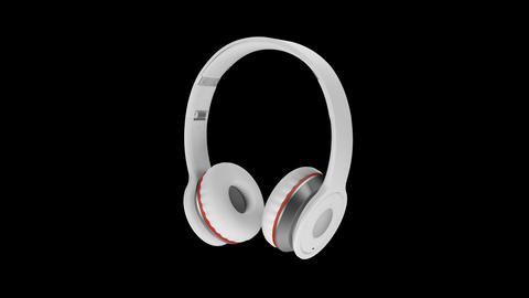 White wireless headphones isolated on transparent background 3d illustration Footage