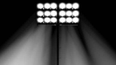 stadium flood lights turning on a black transparent background 3d render Footage