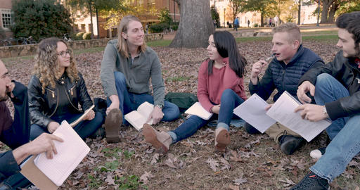 Teacher's assistant or older student leading a discussion with other students while sitting outside Footage