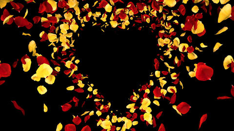 Flying Romantic yellow red Rose Flower Petals heart Alpha... Stock Video Footage