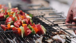 Fish and Skewered Vegetables Grilling Outdoors Live Action