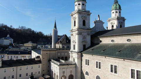 Aerial footage of Salzburg Cathedral with the view on the river and the city, 4k Live Action