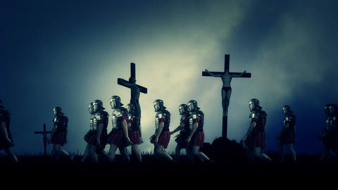Roman Soldiers Passing By Crucified Victims Footage