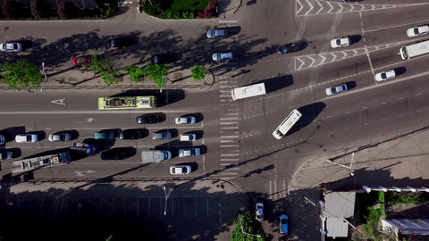 Drone's Eye View - Directly above view of rush hour traffic Footage