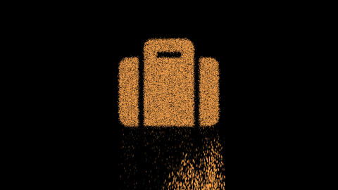Symbol suitcase appears from crumbling sand. Then crumbles down. Alpha channel Premultiplied - Animation