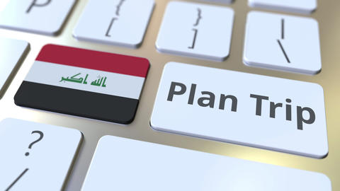 PLAN TRIP text and flag of Iraq on the computer keyboard, travel related 3D Footage