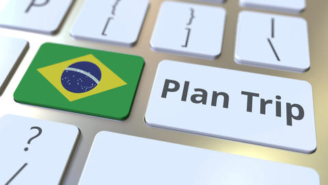 PLAN TRIP text and flag of Brazil on the computer keyboard, travel related 3D Footage