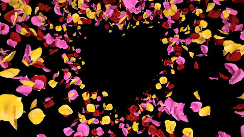 Flying Romantic vibrant colorful Rose Flower Petals heart Alpha isolated Loop Animation