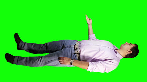 Young Man Virtual Board Gestures Full Body Greenscreen 23 Stock Video Footage