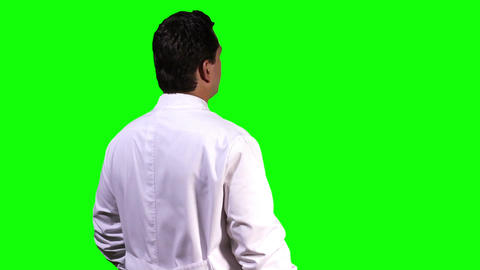 Young Scientist Back Touchscreen Greenscreen 4 Stock Video Footage