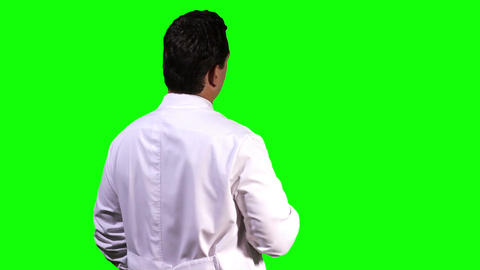 Young Scientist Back Touchscreen Greenscreen 4 Footage