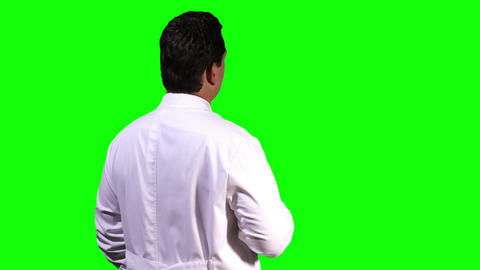 Young Scientist Back Touchscreen Greenscreen 6 Stock Video Footage