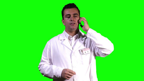 Young Scientist Phone Touchscreen Greenscreen 3 Stock Video Footage