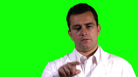 Young Scientist Touchscreen Closeup Greenscreen 10 Footage