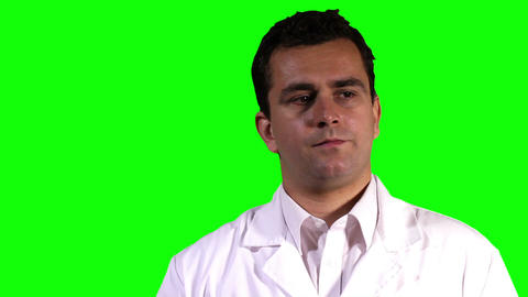 Young Scientist Touchscreen Closeup Greenscreen 10 Stock Video Footage