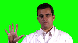 Young Scientist Touchscreen Closeup Greenscreen 12 Stock Video Footage