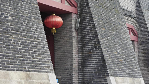 Ancient city Great Wall gate.Chinese lanterns.Historic walls Stock Video Footage