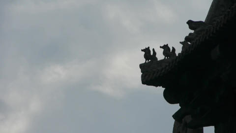sculpture on roof eaves,China ancient architecture.carved... Stock Video Footage