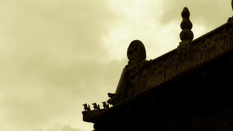 sculpture on roof eaves,China ancient... Stock Video Footage