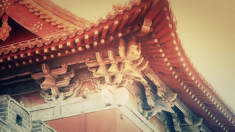 Carved beams & painted buildings.sculpture on roof... Stock Video Footage