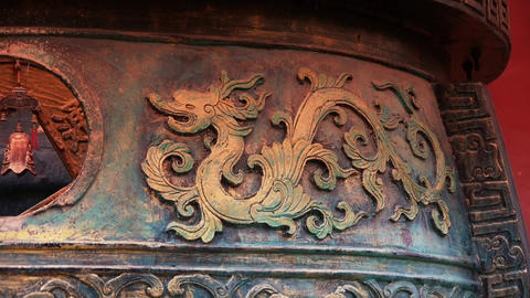 Chinese classical historical bronze dragon pattern Footage