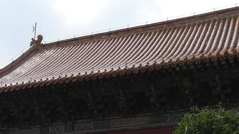 China ancient architecture.sculpture on roof eaves,Chinese stone Memorial arch Footage