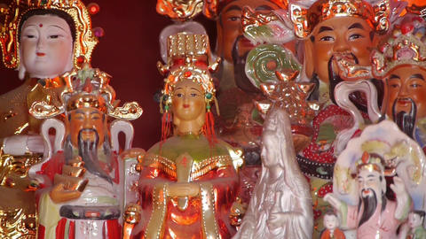 Gorgeous statues.Chinese God sculpture of wealth.Matsu... Stock Video Footage