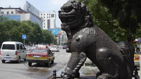 Bronze metal stone lion unicorn.sculpture... Stock Video Footage