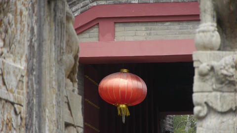 Chinese lanterns.Ancient city Great Wall gate.Historic walls Stock Video Footage