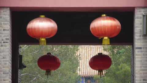 Chinese lanterns.Ancient city Great Wall gate.Historic walls Live Action
