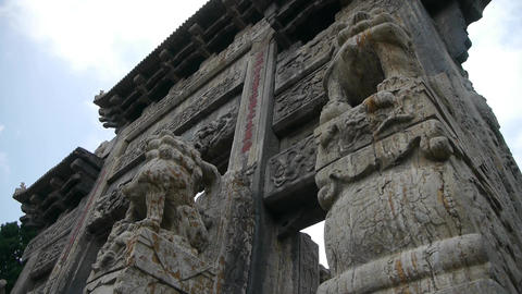 China stone arch building & ancient city gate.Cloud,stone lions unicorn Footage