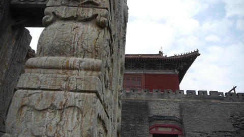 China stone arch building & ancient city gate.stone lions unicorn Footage