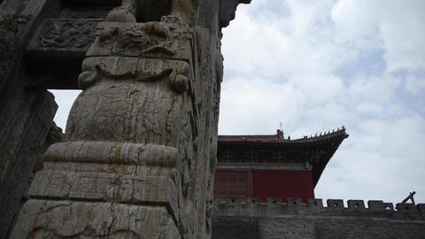 China stone arch building & ancient city gate.stone... Stock Video Footage