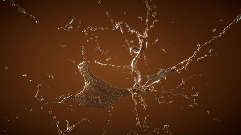 Hot chocolate or cocoa splashes with slow motion Animation