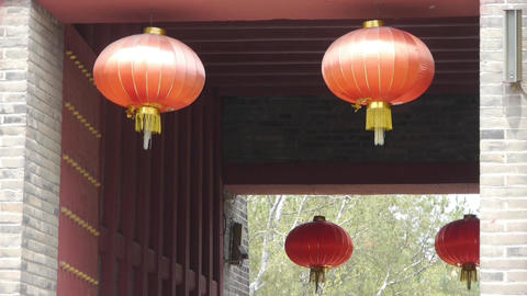 Chinese lanterns.Ancient city Great Wall gate.Historic walls Footage