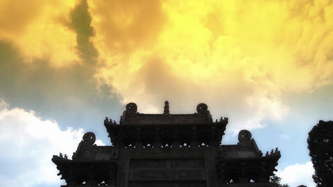 China stone arch building & ancient city gate.movement of clouds Footage