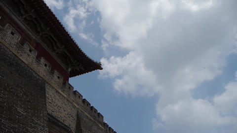 Great Wall & stone battlement,ancient DaiMiao city... Stock Video Footage