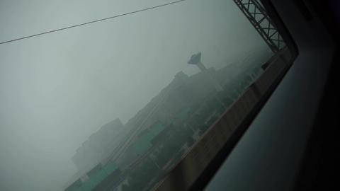 Speeding train travel,scenery outside window.train-station Stock Video Footage