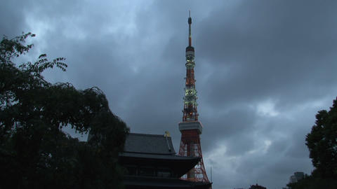 Tokyo Tower timelapse Stock Video Footage