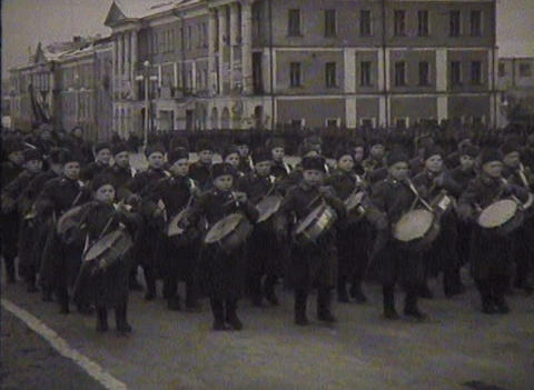 Newsreel, a chronicle of the USSR. Demonstration and parade Footage
