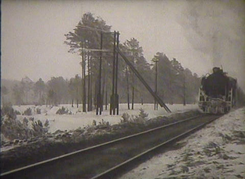 The USSR, a newsreel, the old steam locomotive Stock Video Footage
