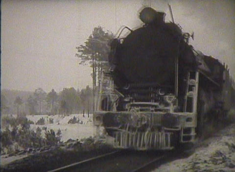 The USSR, a newsreel, the old steam locomotive Footage