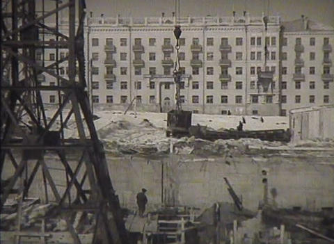 The construction in the USSR, newsreel Footage