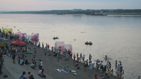 Evening Swim in Amur River (Heilongjiang) Stock Video Footage